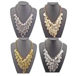 N-1855 New Arrival Fashion Charming Multilay Leaf Tassel Choker Necklace