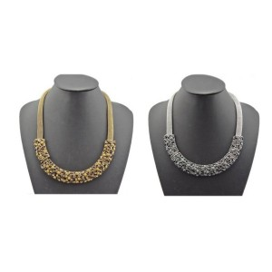 N-1751 European Vintage Style Bronze/Vintage Silver Snake Chain Charming Hollow Out Choker Bib  Necklace