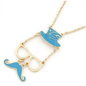 N-2874 New Lovely Fashion Golden Metal Enamel Hat Glass Mustache Pendant Necklace