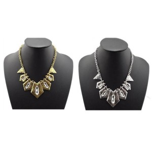 N-1760 New Arrival Vintage Gold/Silver Metal Geometric Clear Crystal Choker Necklace