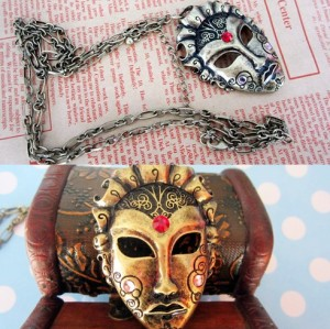 N-2783 Punk Vintage Style Silver/Gold Metal Mask Rhinestone Pendant Necklace