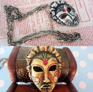 N-2783 Punk Vintage Style Silver/Gold Metal Mask Rhinestone Pendant Necklace