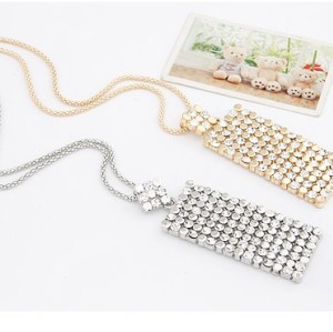 N-4579 New Fashion Charming Double Chains Gold/Silver Oblong Rhinestone Pewndant Necklace