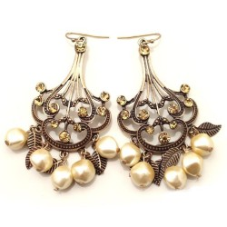 E-0234 New Vintage Bronze Hollow Out Flower Leaf Beads Rhinestone Dangling Earring