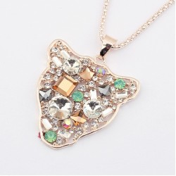 N-3264 New Arrival Fashion Charming Double Chains Golden Crystal Rhinestone Leopard Head Pendant Necklace