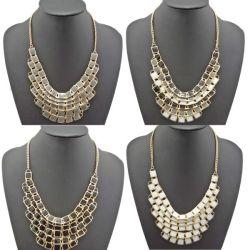 N-4752 Fashion gold plated metal geometry Enamel  tassels Choker Bib Necklace