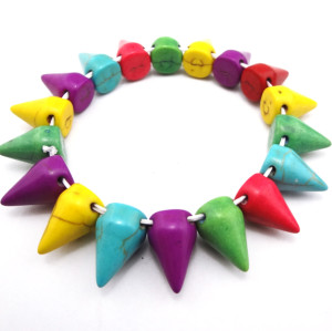 B-0047 punk Style Man made Opal rivet stretch bracelet