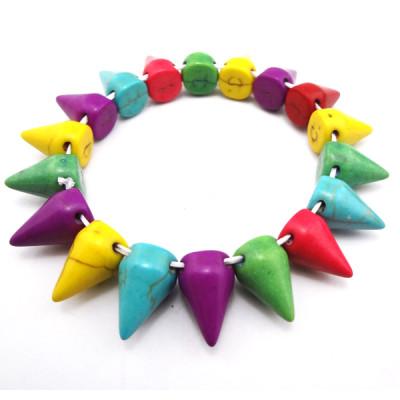 B-0047 punk Style Man made Opal rivet stretch bracelet