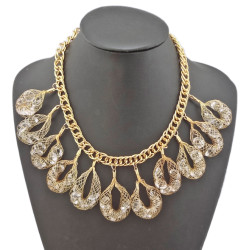 N-1001 Charming Gold Plated Clear Crystal drop Choker Necklace