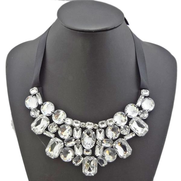 New in pretty statement rhinestone crystal black ribbon for Ribbon tie necklace jewelry