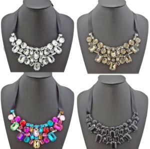 N-2261 Pretty Statement Rhinestone Crystal Black Ribbon Tie Bib Necklace