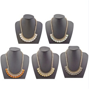 N-0778 New gold plated Chain rhinestone crystal collar Pendant Necklace