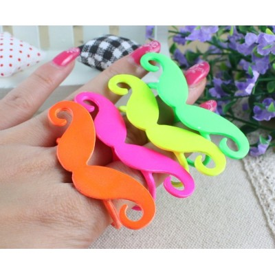 R-0184 Colors Choose Cute Cosplay Moustache Handlebar Two Fingers Double Ring 8.5 8