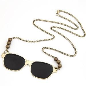 N-2752 Punk Cool Fashion Golden Metal Black Enamel Glass Bronze Beads Pendant Necklace