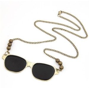N-2752 Punk Cool Fashion Golden Metal Black Enamel Glass Bronze Beads Pendant Necklace