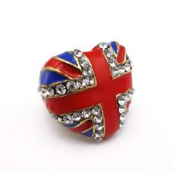 R-0681 New Chorming Fashion Silver/Bronze Metal Heart Enamel Flag Rhinestone Ring