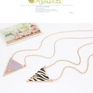 N-4516 European style gold Plated Enamel Leopard Print Triangle Pendant Neckalce