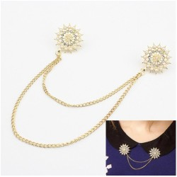 P-0063 New Arrival Gold/Bronze Plated Pearl Rhinestone Flower Brooch Pin