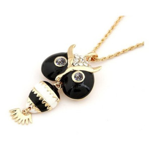 N-2503 New Arrival Korean Style Lovely Crystal Enamel Owl Pendant Necklace