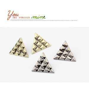 E-2039 New Punk Vintage Style Bronze/Silver/Gun Black Square Triangle Earring Ear Stud