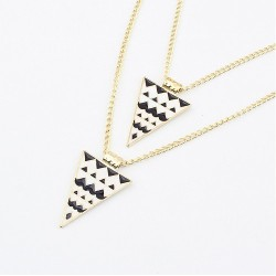 N-458 New IN Gold Plated Double Chain Enamel Triangle Pendant  Sweater Necklace