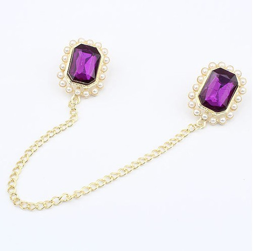 P-0062 Gold Plated  pearl flower crystal nail collar brooch