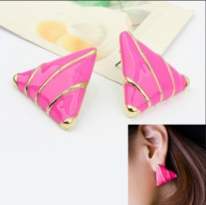 E-2007 New Lovely Gold Plated Metal Rose Enamel Triangle Charming Earrings Ear Stud