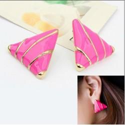 E-2007 New Lovely Gold Plated Metal Rose Enamel Triangle Charming Earrings Ear Stud
