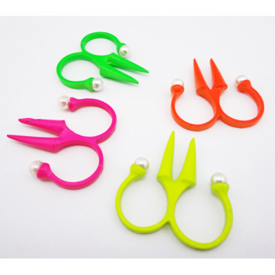 R-0530 New Chorming Fashion scissors shape pearl double finger Ring