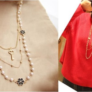 N-1527 New Arrival Charming Fashion Multilayer Chains Pearl Flower Key Lovely Necklace
