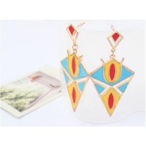 E-2014 New Arrival Gold Plated Colorful Enamel  Rhombus Geomtery Dangle Earring