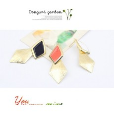 E-2036 New  Arrival Fashion Gold Plated Enamel Rhombus Dangling Earring