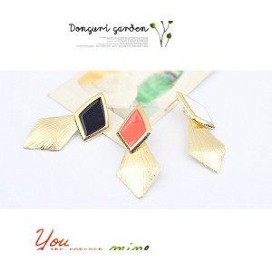 E-2036 New  Arrival Fashion Gold Plated Enamel Rhombus Dangling Earring