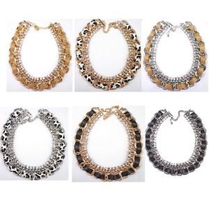N-1301 Fashion European Style Charming Rhinestone Leather Chain Necklace
