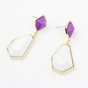 E-2009 New IN gold plated enamel geometry  Dangle Earring