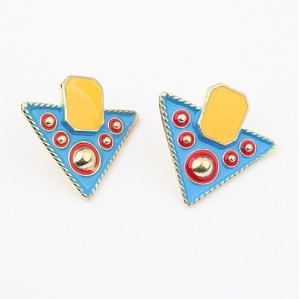 E-2026 New IN gold plated enamel geometry  triangle rivet Dangle Earring