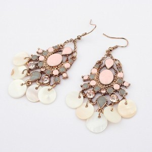 E-0276 bohemian style rhinestone pink enamel drop shell tassels  Dangle Earring