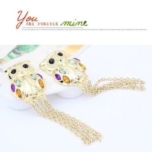 E-0643 Fashion style gold plated crystal owl tassels  Dangle Earring