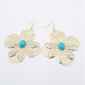 E-0229 Fashion style gold plated hollow out flower blue gem Dangle Earring