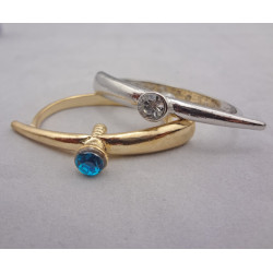 R-0131 Vintage Style Silver gold Metal rhinestone screw double finger Ring
