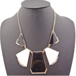 N-4596 Fashion Bohemia Gold Plated Metal Enamel Grometric Choker Necklace
