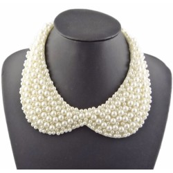 N-2072 Charming Fashion Black/White Beads Lovely  Collar Necklace