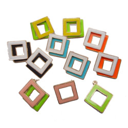 E-2032 New Pair Gold Plated Alloy Enamel Square Ear Stud