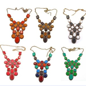 N-0751 New In Fashion Lovely Bronze Metal Square Drop Resin Gem Choker Necklace