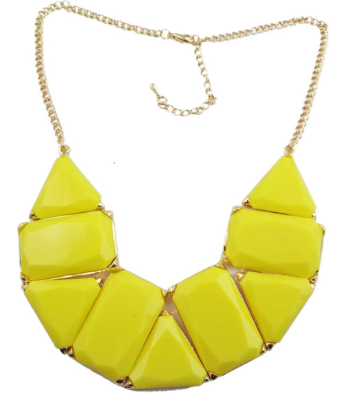 N-0512 New In Fashion Lovely Golden Metal Olong Triangle Resin Gem Choker Necklace