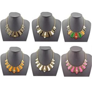 N-4576 New Fashion Vintage Gold Metal Geometric Enamel Hollow Out Choker Necklace