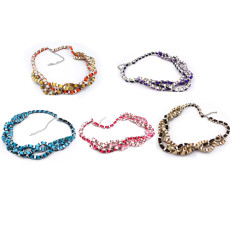 N-1015 Silver Plated Geometric Multilayer Color Ribbon Stripe Weave Choker Necklace