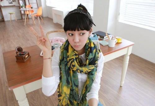C-0001 New In Pastorable rose flower ramie cotton yarn scarf 180cm*110cm