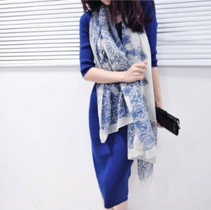 C-0022 New Vintage Style blue and white porcelain Flower ramie cotton yarn scarf 180cm*110cm