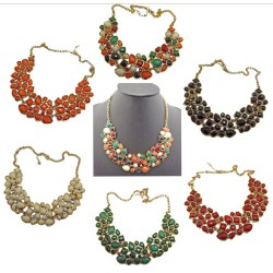 N-0510 New Arrival Vintage Style Colorful Resin Rhinestone Drop Choker Necklace N-0510